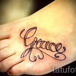 тату надпись на ступне - фото пример готовой татуировки от 23.05.2016 19