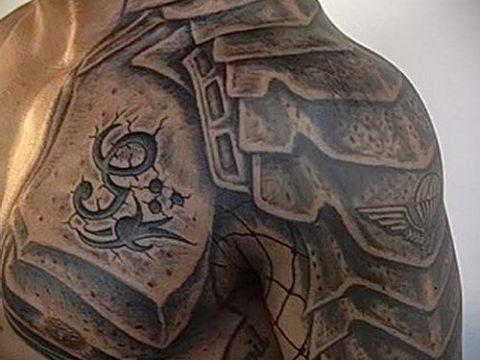 тату на плече мужские кожаные доспехи фото - пример готовой татуировки от 16052016 1