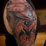 тату на плече мужские кожаные доспехи фото - пример готовой татуировки от 16052016 8