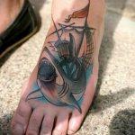 тату на ступне акула - фото пример готовой татуировки от 23.05.2016 3