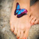 тату на ступне бабочка - фото пример готовой татуировки от 23.05.2016 2