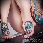 тату на ступне женские - фото пример готовой татуировки от 23.05.2016 6