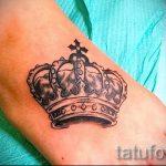 тату на ступне корона - фото пример готовой татуировки от 23.05.2016 3