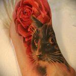 тату на ступне кошка - фото пример готовой татуировки от 23.05.2016 2