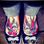 тату на ступне ласточка - фото пример готовой татуировки от 23.05.2016 7