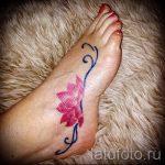 тату на ступне лотос - фото пример готовой татуировки от 23.05.2016 1