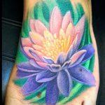 тату на ступне лотос - фото пример готовой татуировки от 23.05.2016 5