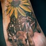 тату на ступне олень - фото пример готовой татуировки от 23.05.2016 3