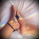 тату на ступне парные - фото пример готовой татуировки от 23.05.2016 2