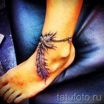 тату на ступне перо - фото пример готовой татуировки от 23.05.2016 1