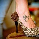 тату на ступне сердце - фото пример готовой татуировки от 23.05.2016 2