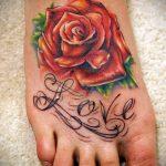 тату на ступне цветы - фото пример готовой татуировки от 23.05.2016 10