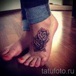 тату на ступне цветы - фото пример готовой татуировки от 23.05.2016 12