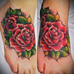 тату на ступне цветы - фото пример готовой татуировки от 23.05.2016 5