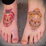 тату на ступнях череп - фото пример готовой татуировки от 23.05.2016 1