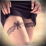 тату подвязка с бантиком на ноге - фото пример готовой татуировки 02052016 1