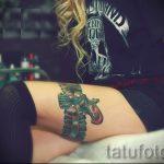 тату подвязка с бантиком на ноге - фото пример готовой татуировки 02052016 13