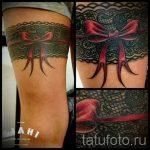 тату подвязка с бантиком на ноге - фото пример готовой татуировки 02052016 18