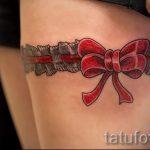 тату подвязка с бантиком на ноге - фото пример готовой татуировки 02052016 6