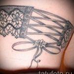 тату подвязка с бантиком на ноге - фото пример готовой татуировки 02052016 7