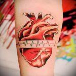 тату пульс с сердцем - пример готовой татуировки 8