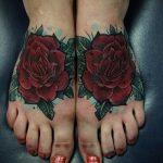 тату роза на ступне - фото пример готовой татуировки от 23.05.2016 13