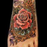 тату роза на ступне - фото пример готовой татуировки от 23.05.2016 7