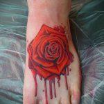 тату роза на ступне - фото пример готовой татуировки от 23.05.2016 8