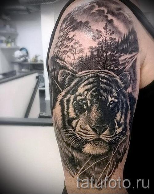 Тату на плечо тигры мужские фото