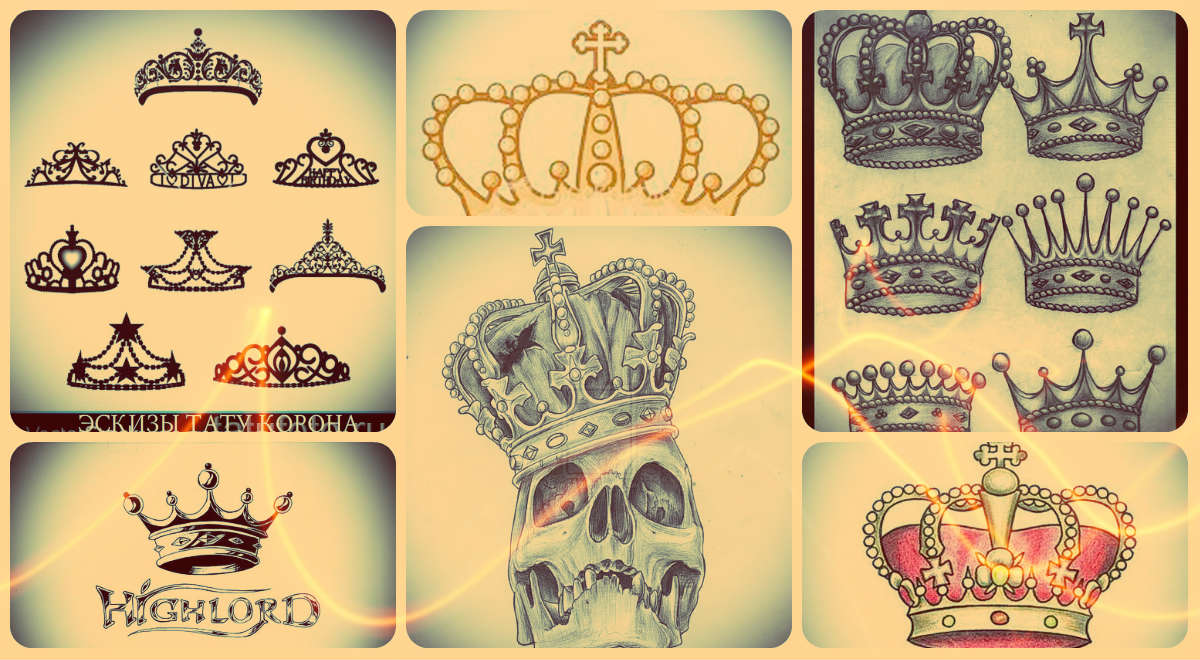 Тату из хны корона