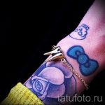 Bogen Tattoo auf ihrem Handgelenk - Foto Beispiel des fertigen Tätowierung 02052016 1