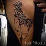 Mandala-Tattoo auf der Seite - Foto Beispiel des fertigen Tätowierung auf 01052016 2