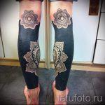 Mandala-Tattoo auf seinem Bein - Beispielfoto des fertigen Tätowierung auf 01052016 3