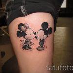 Mickey Mouse-Tattoo auf seinem Bein - das fertige Tattoo auf 16052016 2