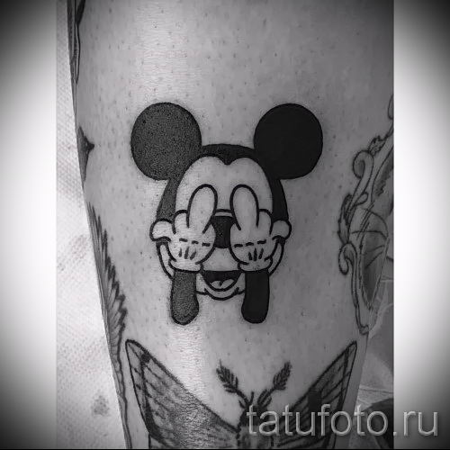 Mickey Mouse tattoo with fuck 1