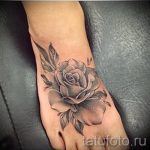 Rose tattoo on foot 1
