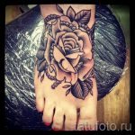 Rose tattoo on foot 7
