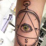 Tattoo-Auge im Dreieck am Handgelenk - ein Foto des fertigen Tätowierung 13052016 2