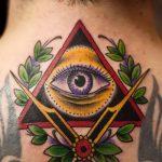 Tattoo-Auge im Dreieck auf dem Hals - ein Foto des fertigen Tätowierung 13052016 3