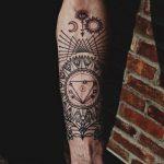 Tattoo-Auge im Dreieck auf dem Unterarm - ein Foto des fertigen Tätowierung auf 13052016 2