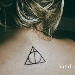Tattoo-Auge im Dreieck für ein Mädchen - ein Foto des fertigen Tätowierung 13052016 2
