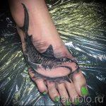 Tattoo auf dem Fuß Hai - Foto Beispiel des fertigen Tätowierung auf 2016.05.23 1