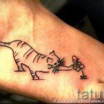 cat tattoo on foot 2