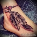 feather tattoo on foot 2