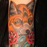 fox tattoo with flowers - cool tattoo photo on 03052016 1