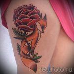 fox tattoo with flowers - cool tattoo photo on 03052016 2