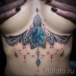 mandala tatouage sous la poitrine - Photo exemple du tatouage fini sur 01052016 2