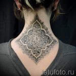 mandala tatouage sur son cou - exemple photo du tatouage fini sur 01052016 1