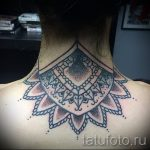mandala tattoo on his neck - Photo example of the finished tattoo on 01052016 1