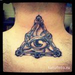 oeil de tatouage dans le triangle sur le cou - une photo du tatouage fini 13052016 2